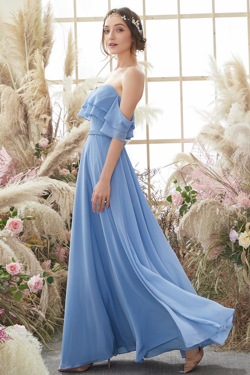 Load image into Gallery viewer, Off The Shoulder Blue Chiffon Bridesmaid Dress