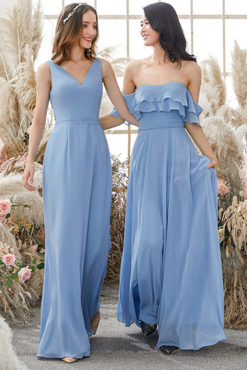 Off The Shoulder Blue Chiffon Bridesmaid Dress