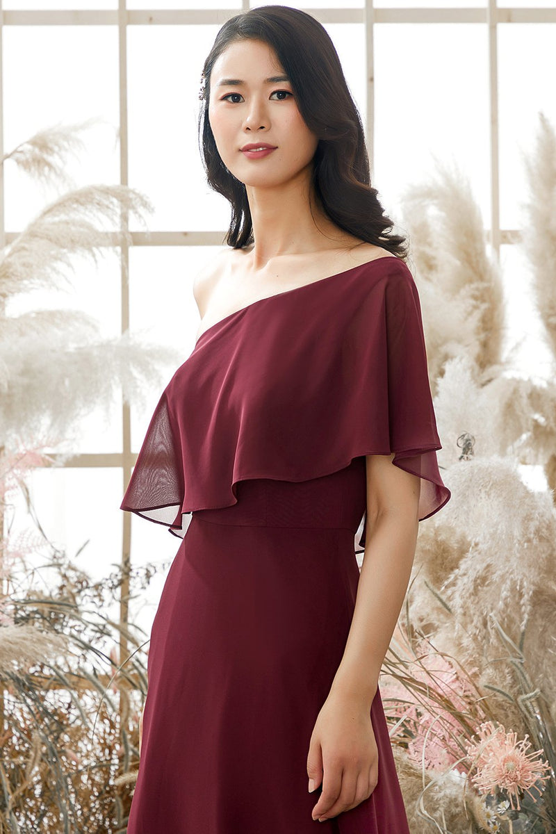 Load image into Gallery viewer, One Shoulder Burgundy Chiffon Bridesmaid Dress