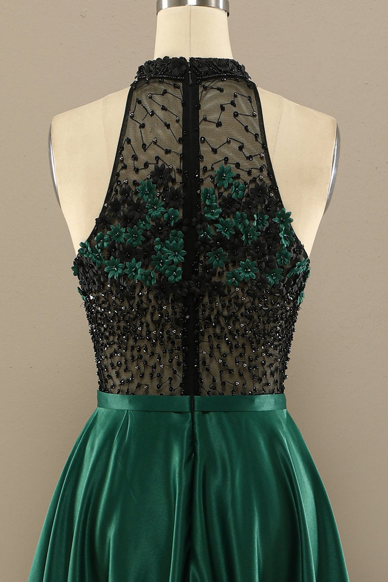 Load image into Gallery viewer, Dark Green Long Beaded Prom Dress With Flowers