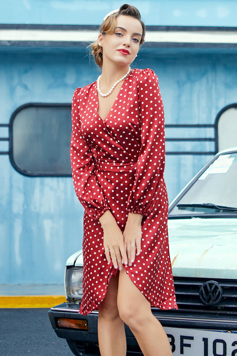 Load image into Gallery viewer, Burgundy Polka Dots Casual Dress