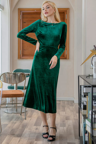 Dark Green Velvet Formal Party Dress