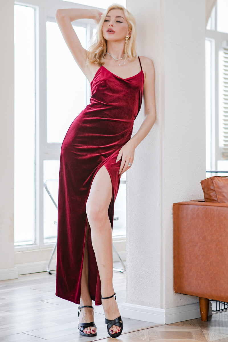 Load image into Gallery viewer, Red Velvet Evening Party Dress