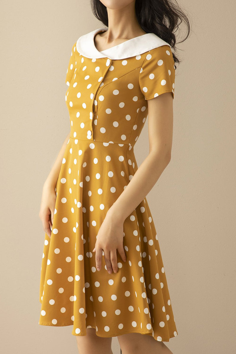 Load image into Gallery viewer, Peter Pans Collar Yellow 1950s Dress