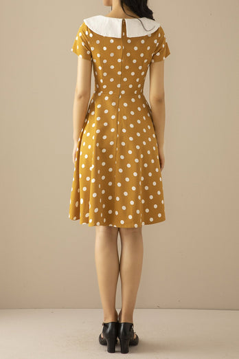 Peter Pans Collar Yellow 1950s Dress