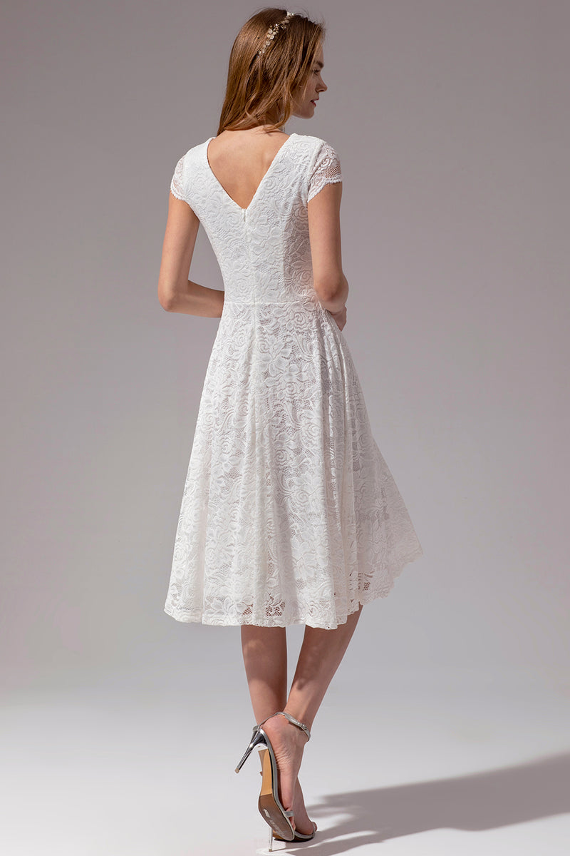 Load image into Gallery viewer, White V Neck Midi Lace