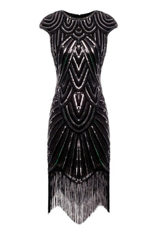 Burgundy Gatsby Glitter Fringe 1920s Dress