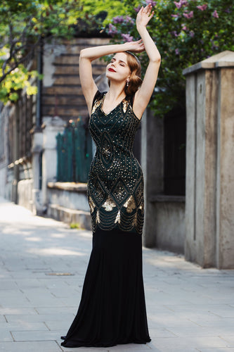 Black 1920s Sequins Flapper Long Dress