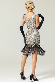 Silver 1920s Fringe Sequins Dress