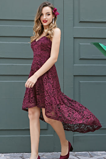 Straps Burgundy Lace Dress