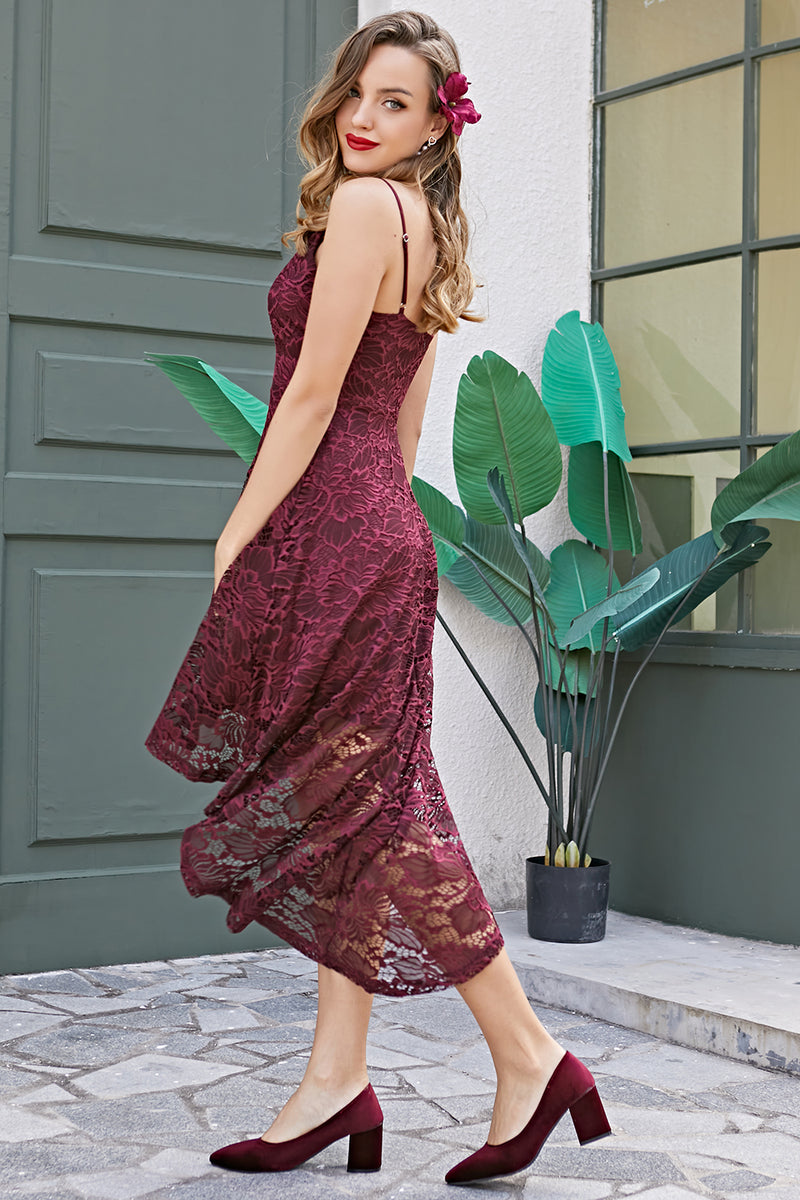 Load image into Gallery viewer, Straps Burgundy Lace Dress