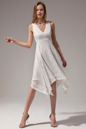 Asymmetrical White V-neck Lace Dress