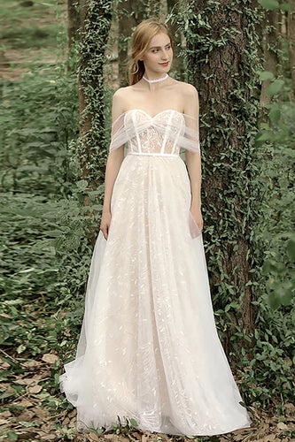 Off the Shoulder Wedding Dress with Bowknot