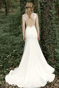Elegant Mermaid V Neck Wedding Dress with Open Back