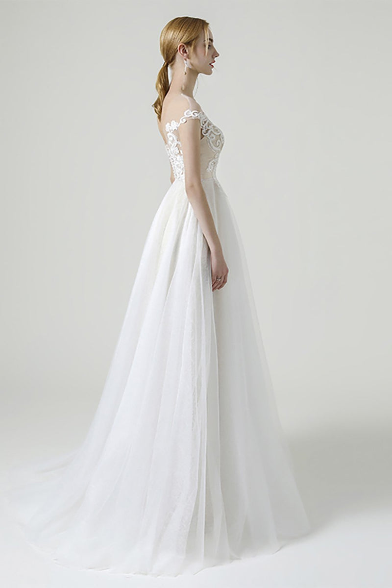 Load image into Gallery viewer, Champagne iIlusion Round Neck Long Wedding Dress