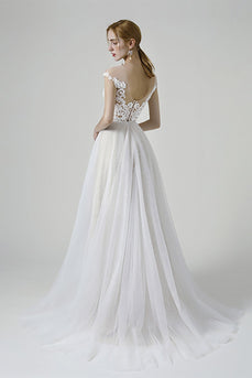 Champagne iIlusion Round Neck Long Wedding Dress