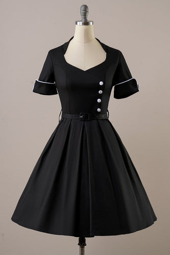 Black Short Sleeves Vintage 1950s Dress