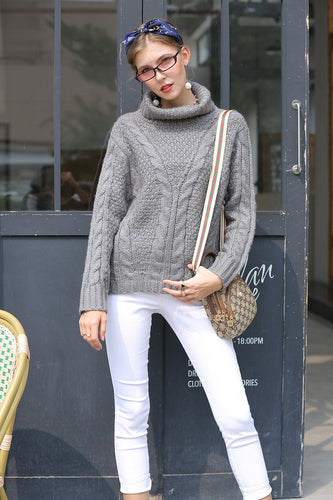 Gray Winter Long Sleeves Sweater