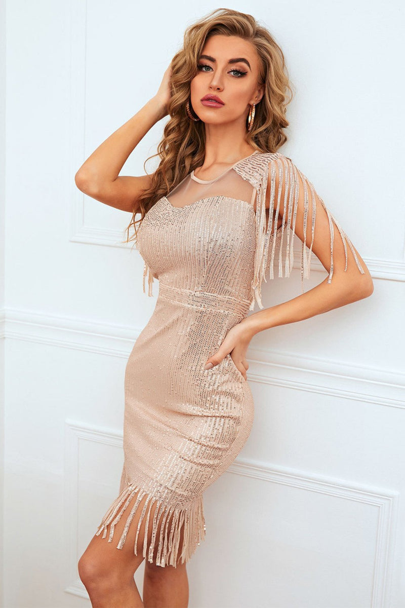 Load image into Gallery viewer, Gold Sequin Party Dress with Fringe