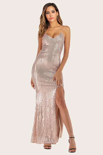Gold Sequins Mermaid Prom Dress