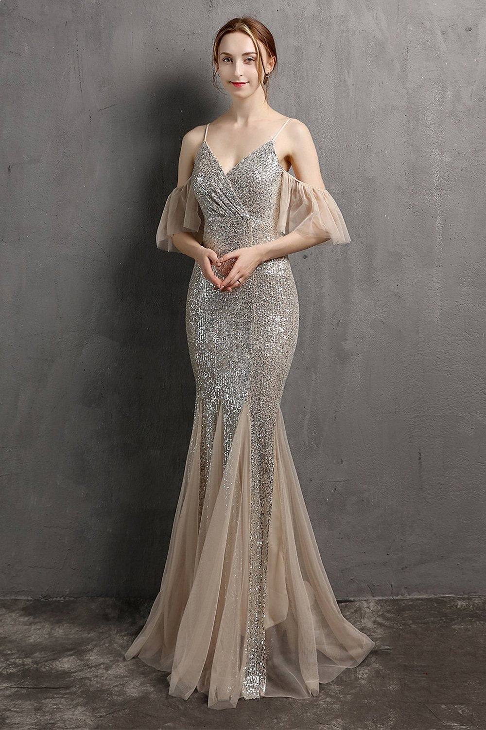 Champagne Sequin Long Prom Dress with Ruffles