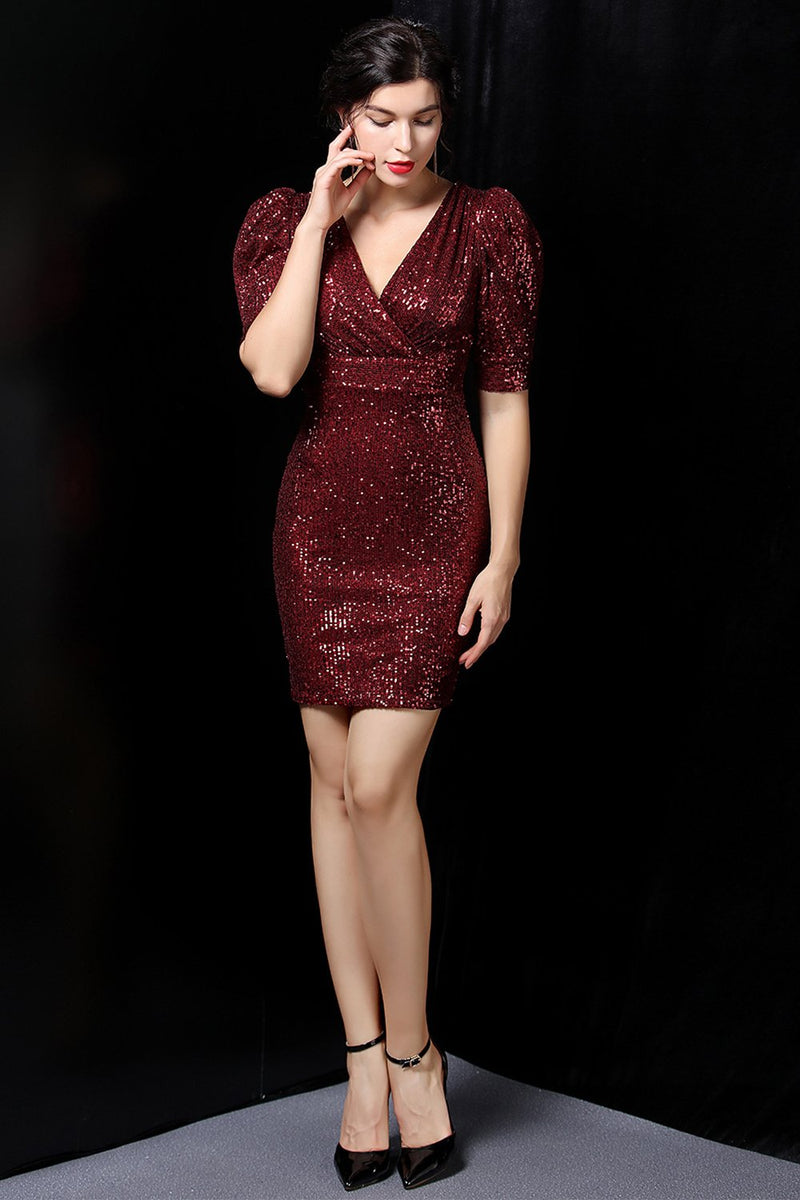 Load image into Gallery viewer, Dark Red Sequin Bodycon Dress
