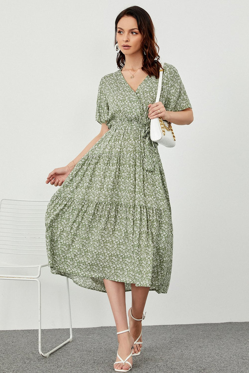 Load image into Gallery viewer, Print Green Summer Boho Dress