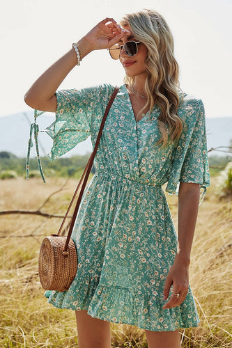 Green Floral Print Summer Dress