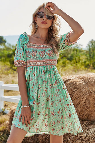 Green Floral Short Sleeves Summer Dress