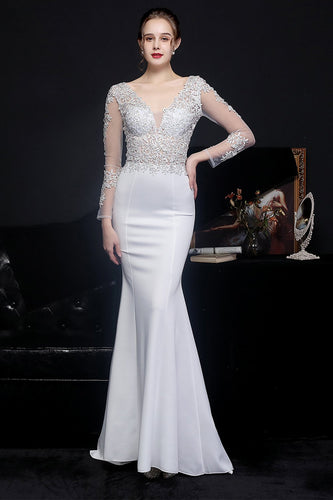 White Applique Prom Dress