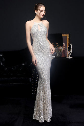 Silver Halter Sequins Party Dress