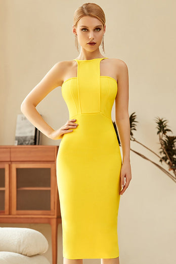 Yellow Bodycon Cocktail Dress