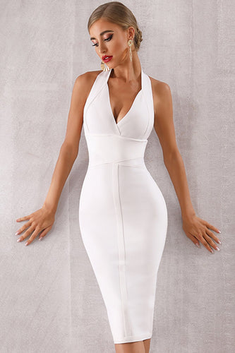 White Halter Bodycon Cocktail Dress