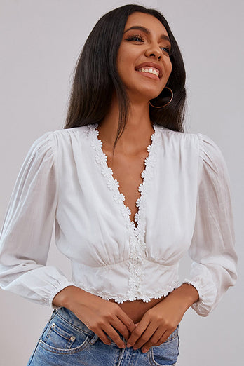 White Deep V Neck Top