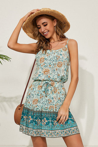 Spaghetti Straps Printed Floral Summer Dress