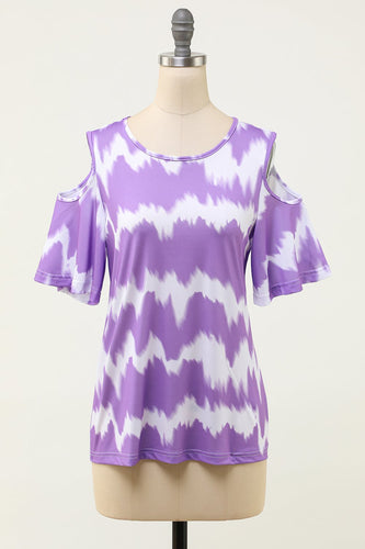 Tie Dye Short Sleeves Off the Shoulder T-Shirt