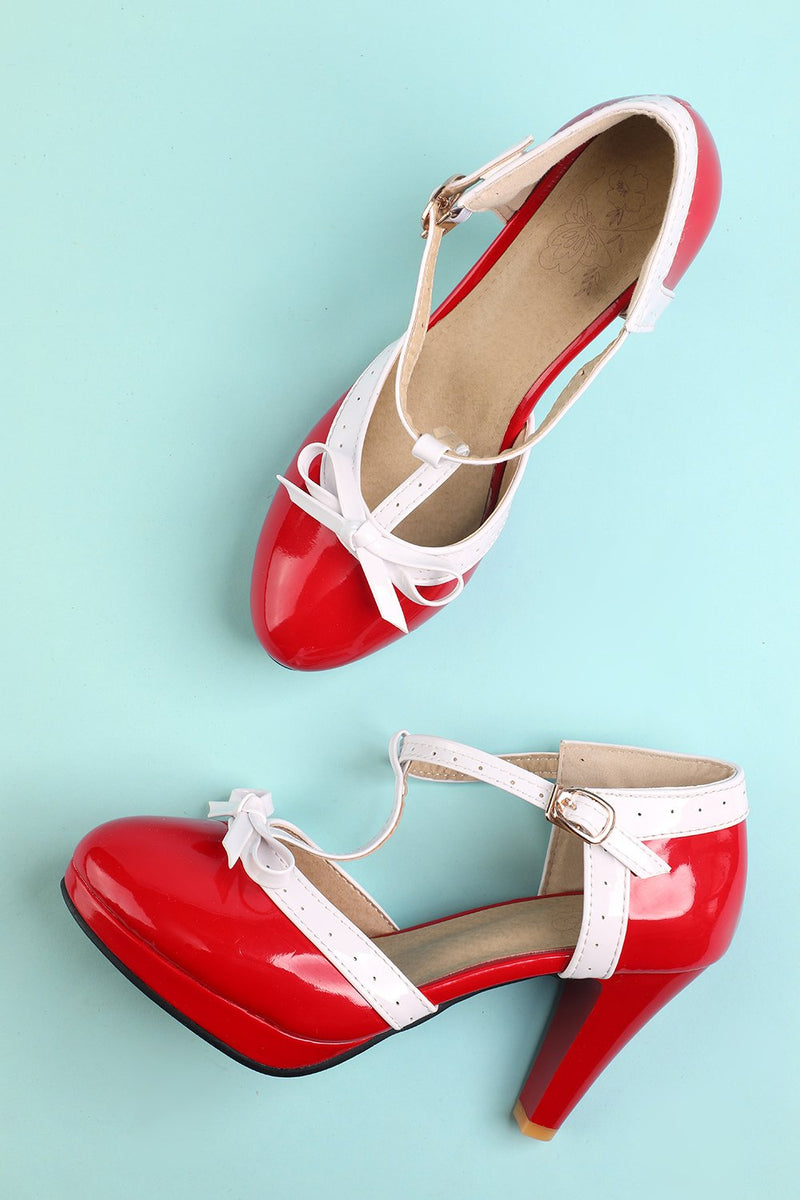 Load image into Gallery viewer, Vintage Red T-Strap Heels