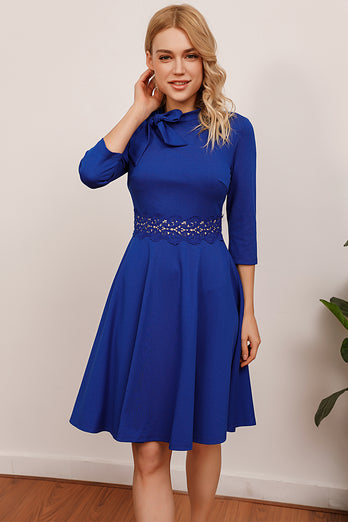 Royal Blue Vintage Dress With Sleeves