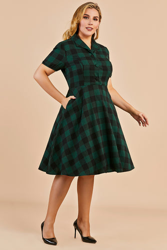 Green V-neck Button 1940s Dress