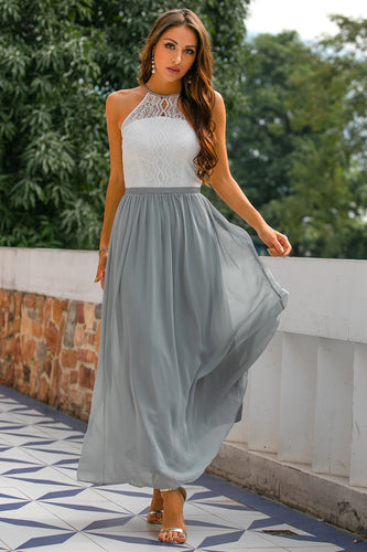 Grey Open Back Long Dress