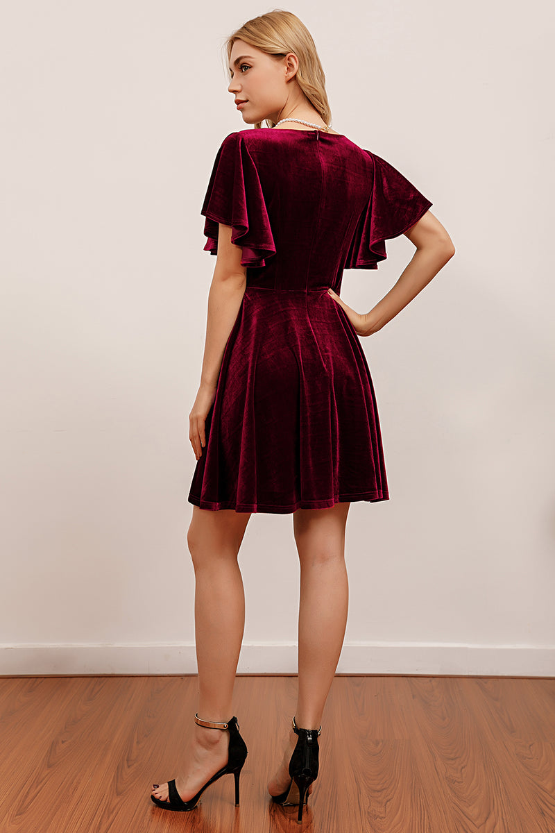 Load image into Gallery viewer, Burgundy Velvet Party Dress