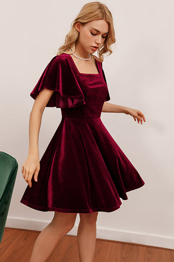 Burgundy Velvet Party Dress