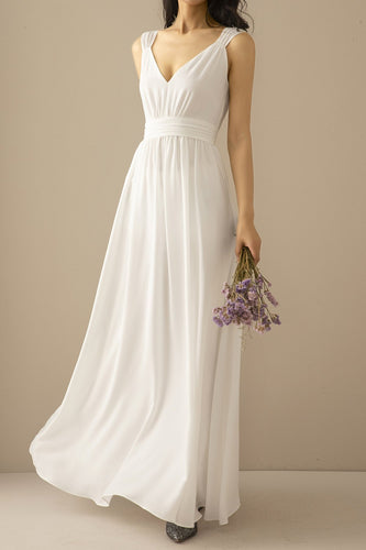Simple White Chiffon Long Prom Bridesmaid Dress