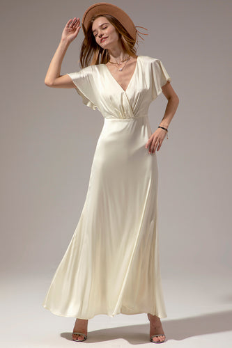 Creamy Simple V Neck Long Wedding Dress