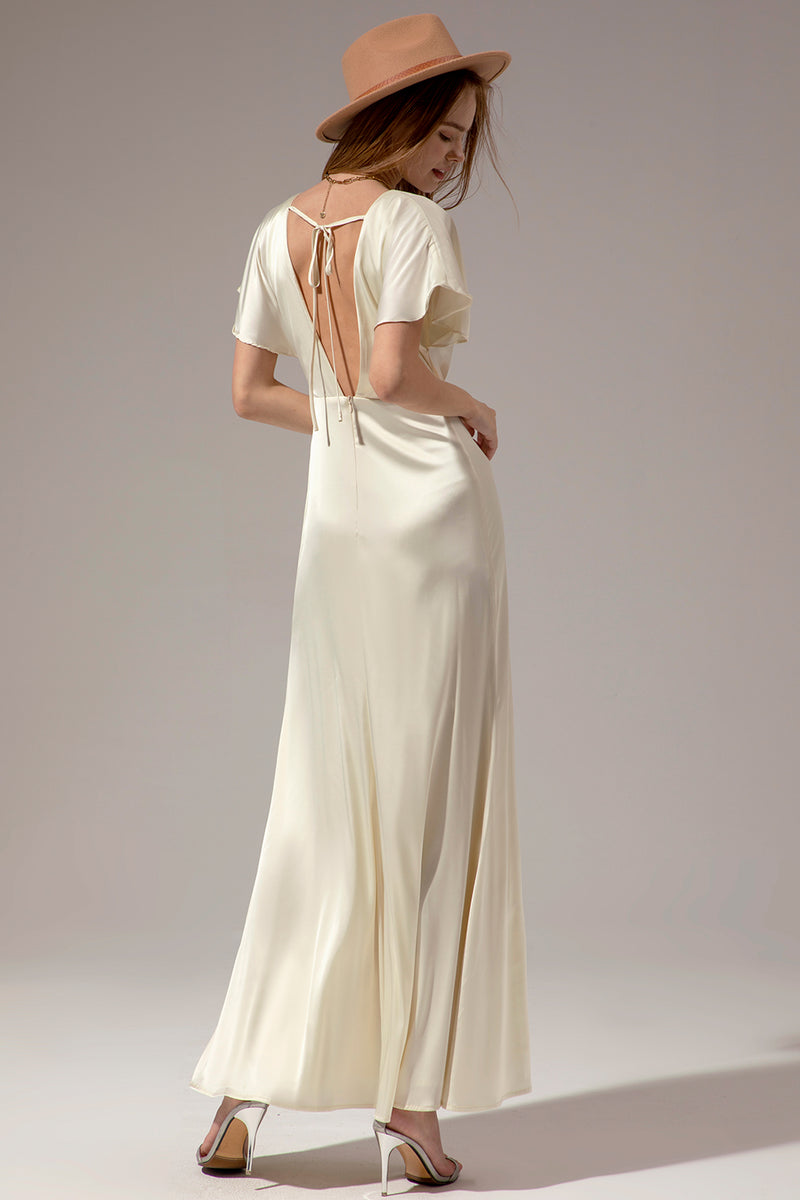 Load image into Gallery viewer, Creamy Simple V Neck Long Wedding Dress