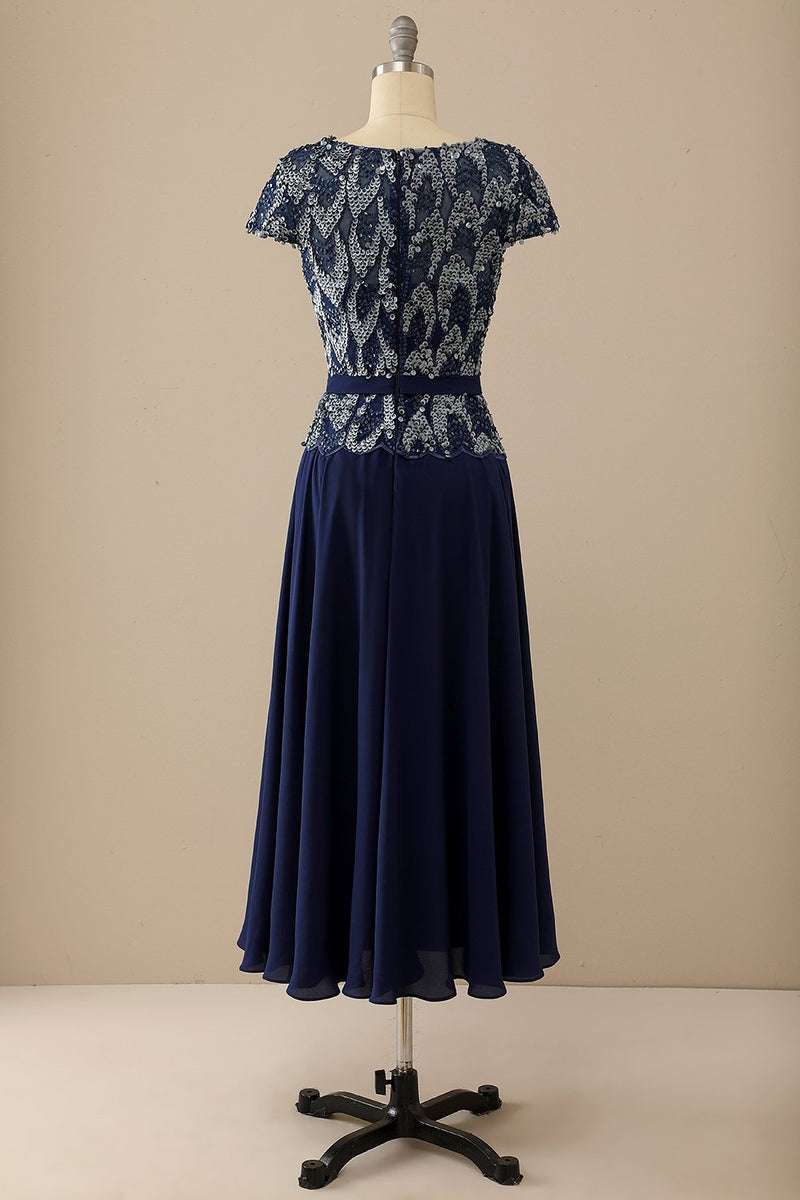 Load image into Gallery viewer, Navy Round Neck Mother of Bride Dress with Sequins