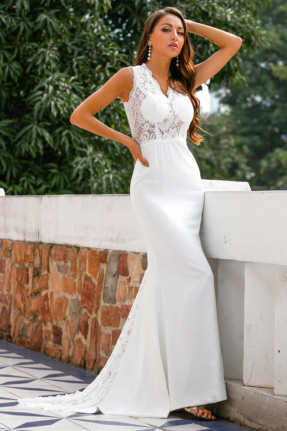 Mermaid V Neck Long Wedding Dress with Lace