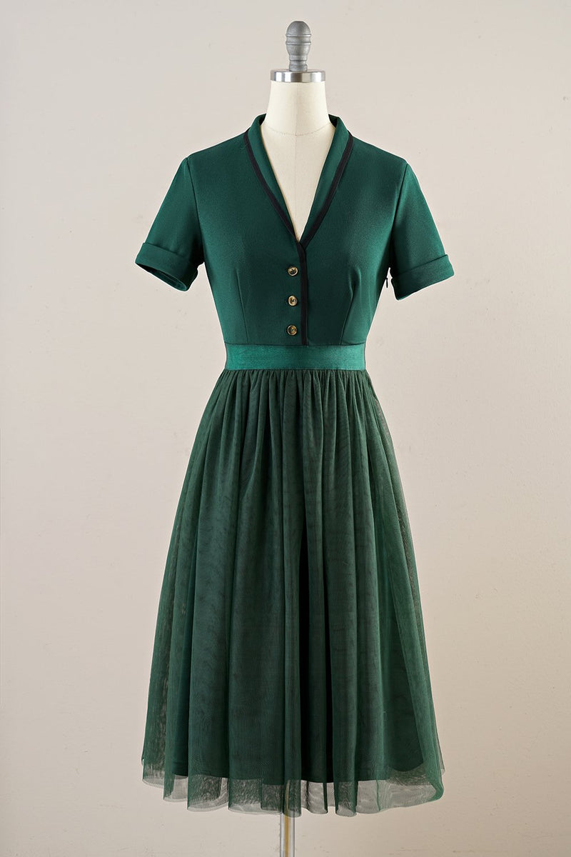 Load image into Gallery viewer, Green Tulle Vintage Dress