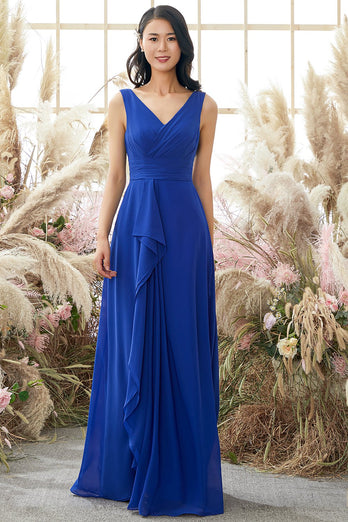 Royal Blue V Neck Bridesmaid Dress