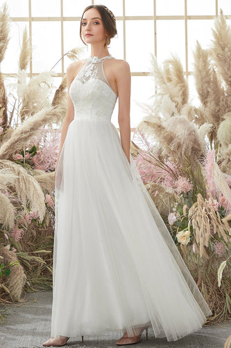 White Halter Neck Wedding Dress